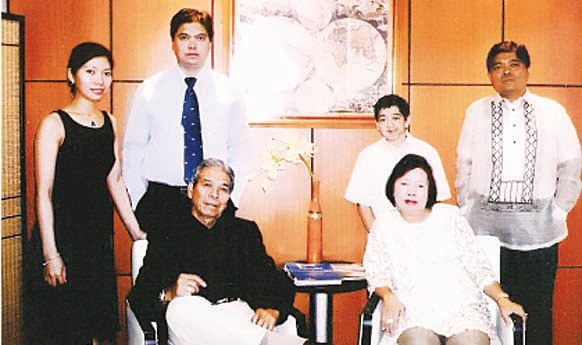 The De Guzman Family: (Standing, L-R) Wilhelmina, Celso 1, Celsito and Celso Jr. (Seated) Ka Celso and wife Zenaida