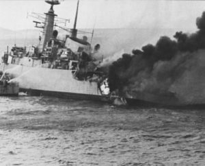 HMS Ardent hit by Exocet Anti-Ship Missile from Argentine Air Force, May 21, 1982