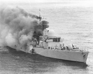 HMS Sheffield hit by Exocet Anti-Ship Missile from Argentine Air Force, April 2, 1982.
