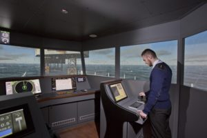 Glasgow City College - New Riverside Campus - September 2015 360 deg Bridge simulator with Dynamic Positioning Control System