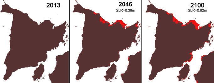 Figure 2. Change in Panay Island due to Sea Level Rise (SLR) The figure shows images from the model of Panay Island with SLR of 0.38m and 0.82m.  The red represents the submerged areas.