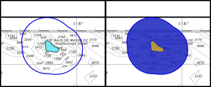 Figure 3. Bajo de Masinloc depicted in a nautical chart Left image:  blue line represents the outer limits of the territorial sea.  Right image:  blue area represents the belt of the territorial sea.