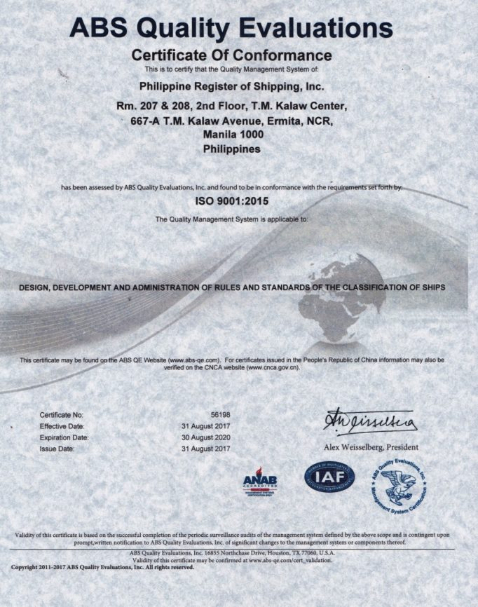 PRS Achieves ISO9001:2015 Certification from ABS Quality Evaluations ...